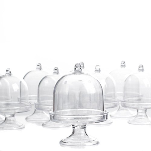 Factory Direct Craft Clear Acrylic Dome Top Pedestal Cloches | 12 Cloches (Plastic Dome Bell Jars)