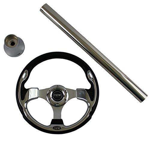 Carts Gone Wild E-Z-GO TXT Custom Steering Wheel Kit, Chrome Classic Style (Steering Wheel Go Cart)