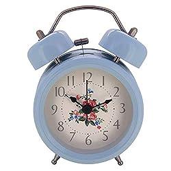 Konigswerk 3 Non-Ticking Quartz Analog Retro Vintage Bedside Twin Bell Alarm Clock with Loud Alarm and Nightlight AC051G (Blue 3inch)