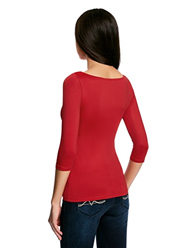 Shirt con 4 Collection 3 oodji 4500n Maniche a T Rosso Basic Donna FtTBX