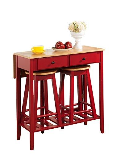Ordinaire Pilaster Designs   3 Pc. Kitchen Island Breakfast Bar Set Drop Down Table U0026  2