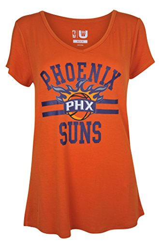 NBA Women's Phoenix Suns T-Shirt V-Neck Relaxed Fit Short Sleeve Tee Shirt, Large, Orange