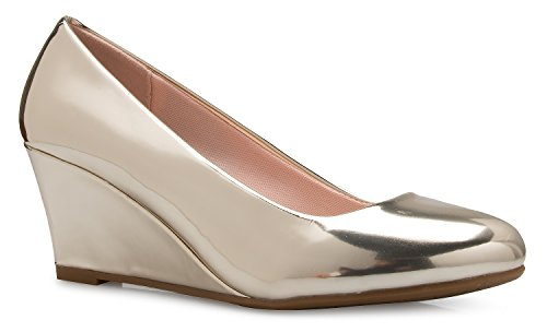 OLIVIA K Women's Adorable Low Wedge Heel Shoe - Easy Low Pumps - Basic Slip On, Comfort
