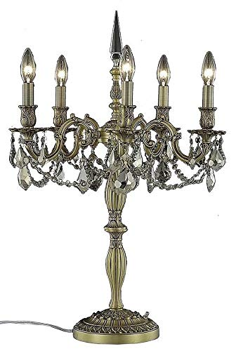 Monarch Traditional Table - Elegant Lighting Rosalia Collection 9205TL18FG-GT/RC 5-Light Table Lamp with Royal Cut Golden Teak Crystals, French Gold Finish