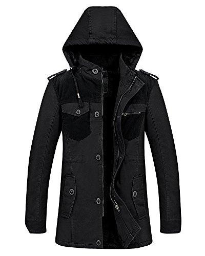 D'inverno Militare Mens Con Nero Qitun Casuale Parka Cappotto Addensare Outwear Tasche Calore Cappuccio Cappotti Multi Giacca aq8x4wxpI