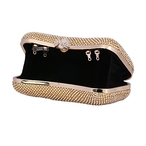 Adorn Rhinestone Evening Metal Shiny Womens Fashion Frame Silver Bag Clutch Damara wf1g8qz8