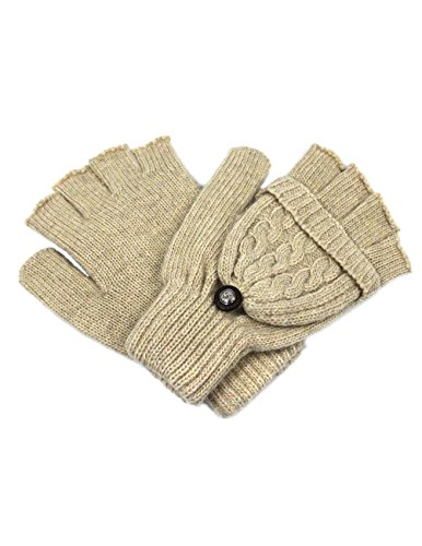 Dahlia Women's Winter Wool Flip Top Gloves - Cable Knit - Beige