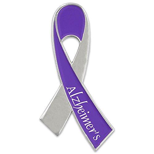 PinMart Purple Alzheimer's Awareness Ribbon Enamel Lapel Pin