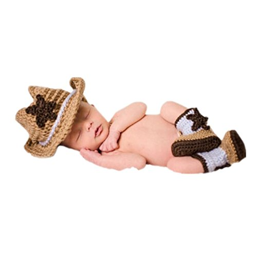 Fashion Newborn Boy Girl Baby Costume Outfits Photography Props Cowboy Hat Boots (Baby Cowboy Costume)
