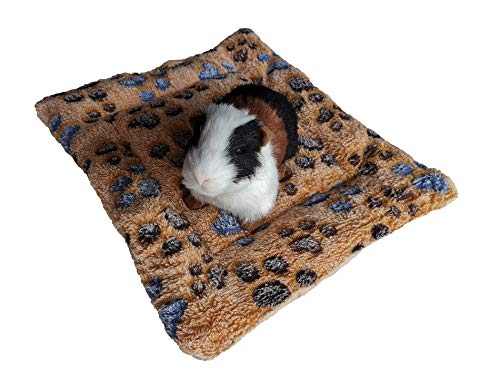 WOWOWMEOW Guinea-Pigs Warm Bed Mat Small Animals Cage Cozy Bed Blanket for Bunny, Hamster, Squirrel, Hedgehog, and Chinchilla (Paws-Yellow)