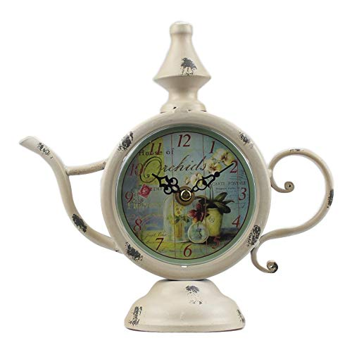 Bestart Kettle Shaped Off White Cream Desk Clock Table Shelf Clock with Vintage Rustic Distressed Style Non Ticking Analog Cute 8.3