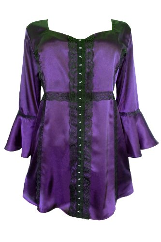 Dare To Wear Victorian Gothic Women's Plus Size Enchanted Top in Amethyst (Plus Size Witch Clothing)