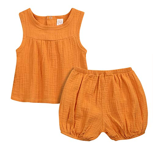 WISWELL Baby Girls Boys Cotton Linen Short Sets Tank Tops + Bloomers Summer Outfits (Yellow, 6-12 Months) …