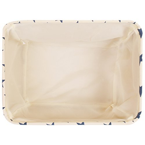 White Star Canvas Storage Basket Box for Household Storage with Blue Stars. 16.5in x 12.5in x 7.5in by For the Love of Home Leisure (Image #2)