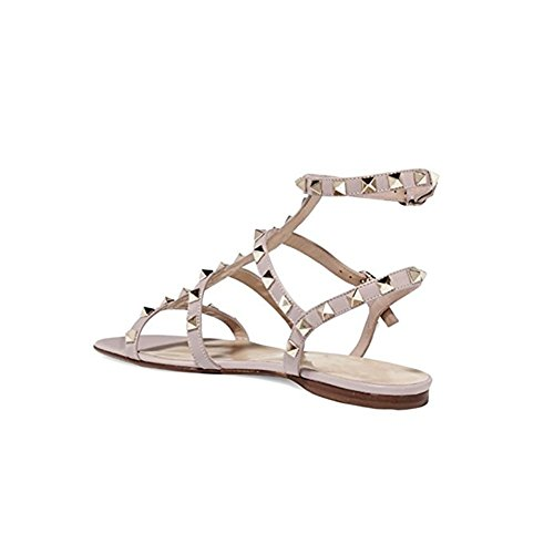 Mules Slides Flats Rockstud Pan Womens Sandals Backless Leather Gold Rivets Nude studs Strappy Dress Studded Caitlin Slippers CqgEXww