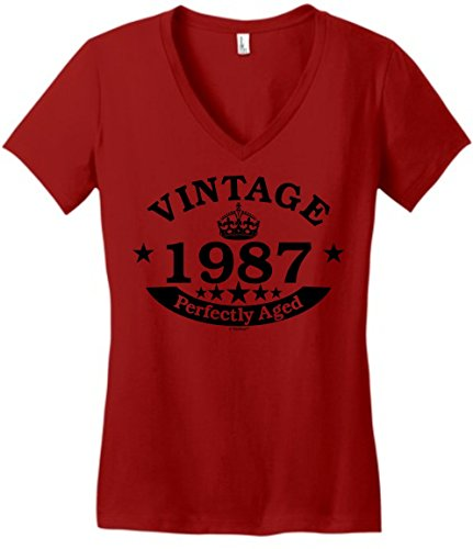 30th-Birthday-Gift-Vintage-1987-Perfect-Aged-Crown-Juniors-Vneck