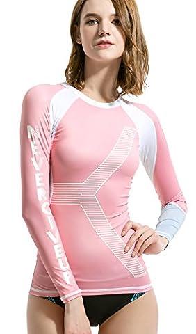 Womens Rash Guard, DIVE & SAIL UPF 50+ UV Sunblock Swim Shirts Fast Dry Long Sleeve Surf Rashguard Tee (Pink, - Divas Womens Shirts