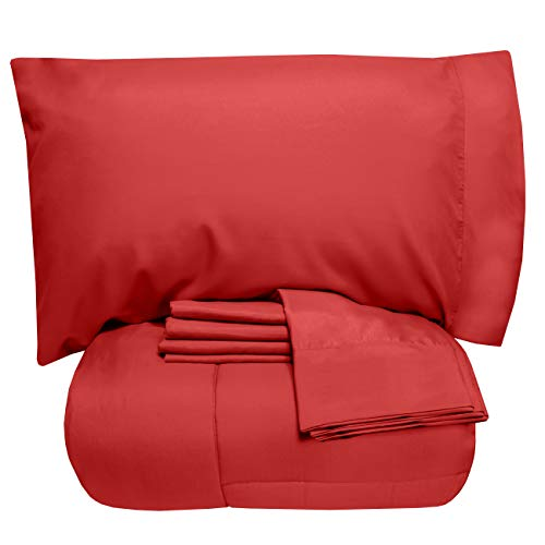 Sweet Home Collection 7 Piece Comforter Set Bag Solid Color All Season Soft Down Alternative Blanket & Luxurious Microfiber Bed Sheets, Queen, Red