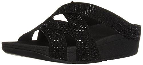 FitFlop Women's Slinky Rokkit Criss-Cross Slide Sandal, Black, 6 M US -