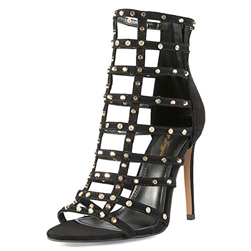 Open Club Donne Stiletto Scarpe Ritaglio Nj Tempestati Gladiatore Party Alto Nere Strappy Rivetti Sandali Toe Tacco Pompe 8gd6wqYA