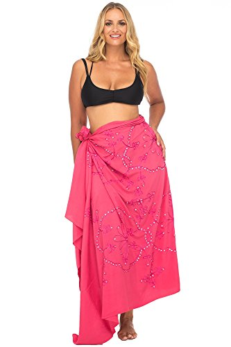 - Back From Bali Womens Plus Size Sarong Swimsuit Cover up Embroidered Beach Wear Bikini Wrap Skirt with Coconut Clip Coral Pink