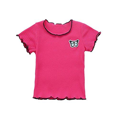 Tefamore Baby Mädchen Soft Kurzarm Solid Soft Kleinkind Kinder Tops T-Shirt Kleidung Heiß Rosa