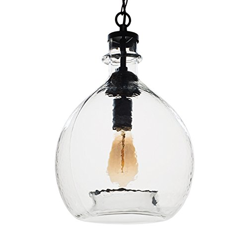 CASAMOTION Wavy Vintage Industrial Hand Blown Glass Pendant Light, 1 hanging Light, 11 Inches, Clear (Vintage Hand Blown Glass)