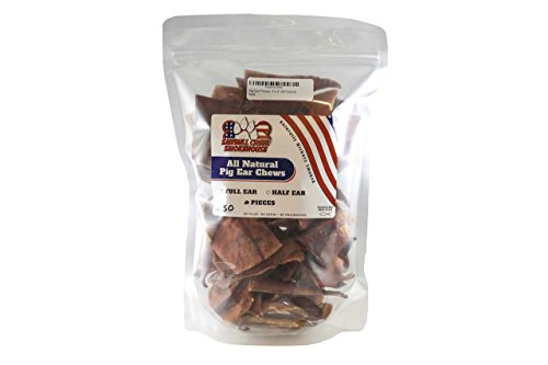 Pig Ear Small Chews 50 PackSourced and Made in USA Natural USDA human grade ()