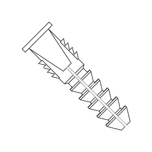 #8 - #10 Tapered and Ribbed Plastic Anchors/Nylon/Natural/for Use with #8 Or #10 Screws/Range of Length: 1'' - 1 1/4''/Drill Size: 1/4'' (Carton: 3,000 pcs)