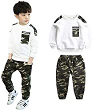 LOLANTA 2-Piece Boys Camouflage Outfit Teen Long Sleeve T-Shirt + Trousers Clothes Set