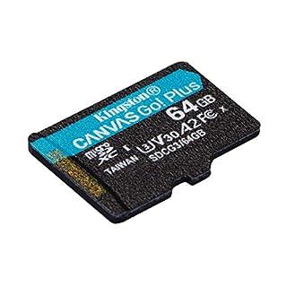 Kingston 64GB microSDXC Canvas Go Plus 170MB/s Read UHS-I, C10, U3, V30, A2/A1 Memory Card + Adapter (SDCG3/64GB)