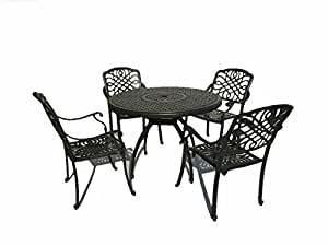 "Cast Aluminum 5-piece Outdoor 42"" Round Dinning Table Set"