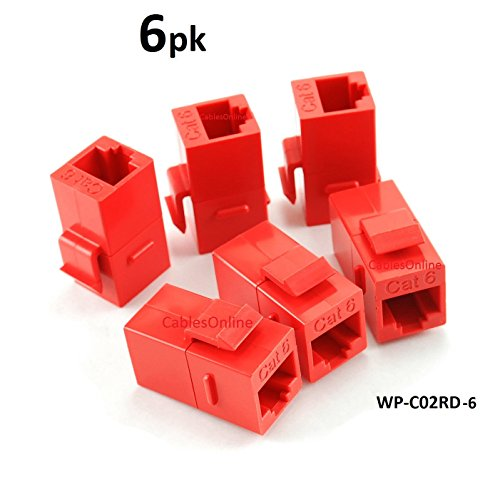 CablesOnline, 6-PACK CAT6 Female/Female RJ45 Ethernet Red Keystone Jack Coupler, WP-C02RD-6