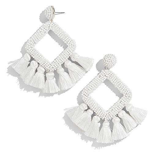 Beaded Tassel Earrings, White Statement Laniyah Fringe Drop Earrings for Womens Gift For Her, Mom, Sister and Friend