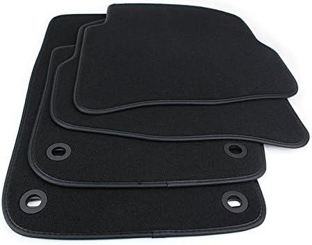 Kfzpremiumteile24 Fußmatten Velours Automatten Premium Qualität Stoffmatten 4 Teilig Schwarz Einfassung Lederrand Auto