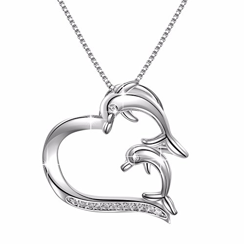 925 Sterling Silver Double Dolphin Love Heart Vintage Pendant Necklace, Box Chain 18