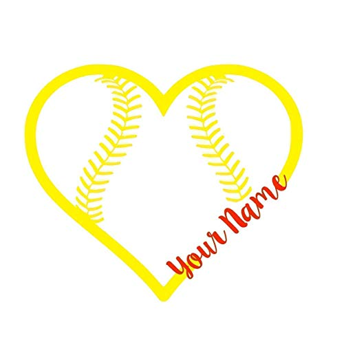Custom Softball Heart With Cursive Name Decal Vinyl Sticker For Yeti Cup Tumbler Laptop Car Window Accessories You Choose Size And Colors