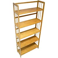 Yi Hai Bamboo Soild Book Rack 5 Tier or Bookshelf