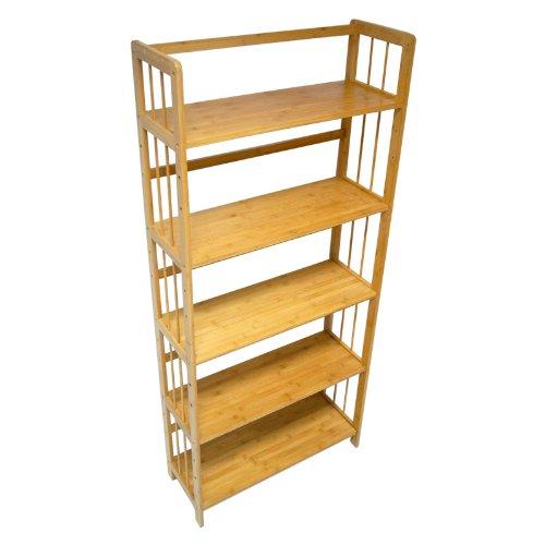 Yi Hai Bamboo Soild Book Rack 5 Tier or Bookshelf - Slanted Shelving Unit