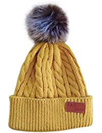 da8fd1d88af LLmoway Kids Beanie Hats Toddler Infant Boys Girls Warm Cable Knit Cap with  Pom Beige