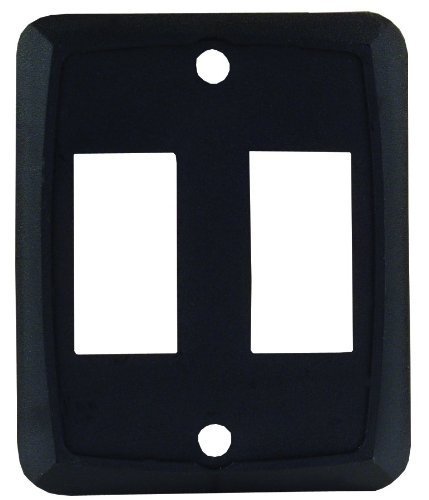 JR Products 12885 Black Double Switch Face Plate