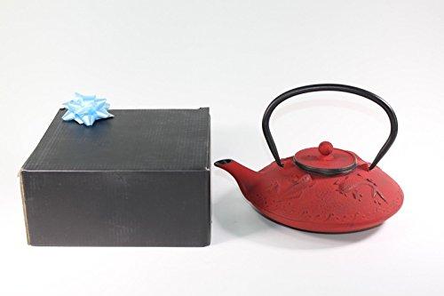 Japanese Antique 24 Fl Oz Red Fancy Carp Koi Fish Cast Iron Teapot Tetsubin with Infuser + Gift Bow Cast Iron Prosperity Teapot