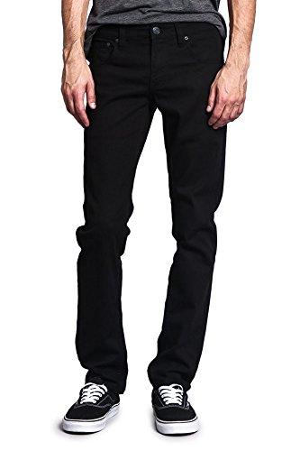 Victorious Men's Skinny Fit Color Stretch Jeans DL937 - BLACK - 36/30