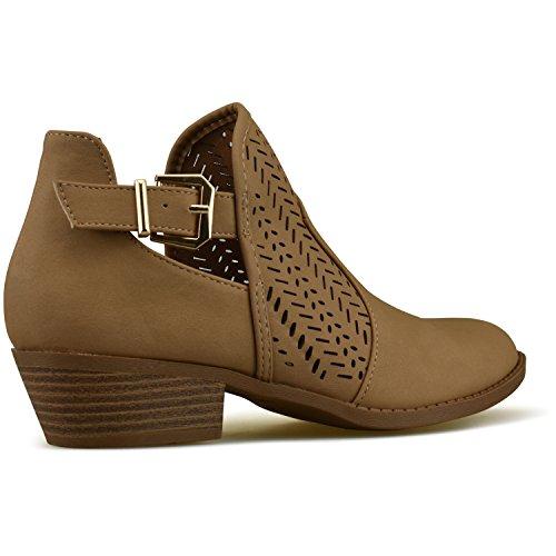Comfortable Walking Boot Closed Tan Casual Standard Buckle Heel Women's Toe Premier Strappy C1 Low Bootie xHavqPw