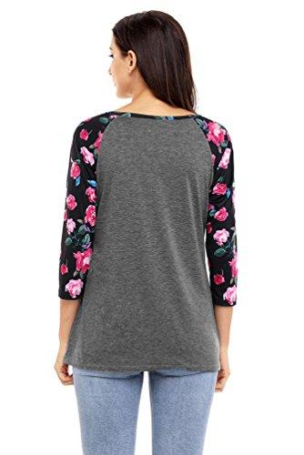 YOUJIA Mujer Casual Boho Camisetas T Shirt Floral Manga raglán Impresión T Shirt Blusas Camisas Tops #1 Oscuro Gris