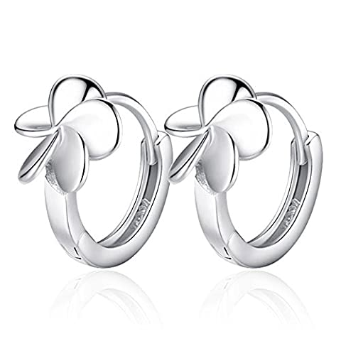 Fashion Womens 925 Sterling Silver Lucky Leaf Floral Chunky Hoop Earrings - Brass Flanged Plug