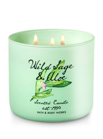 Bath & Body Works Candle 3 Wick 14.5 Ounce 2017 Edition Wild Sage & Aloe - The Perfect 3-Wick Candle! Made using the highest concentration of fragrance oils An exclusive blend of vegetable wax and wicks that won't burn out Our candles melt consistently & evenly, radiating enough fragrance to fill an entire room. - living-room-decor, living-room, candles - 4119fc0 ynL -