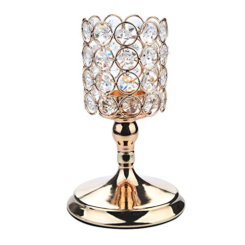 iQKA Modern Crystal Lantern Candle Cup Holders for Valentines Day Dining Room Home Decoration 8Inch (Gold) Coffee Scented Square Pillar Candle