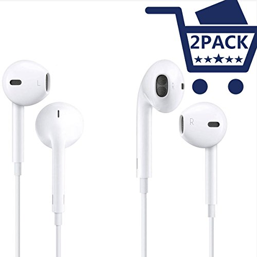 Earbuds, SUREWIN Headphones with Microphone Stereo Earphones with Mic and Remote Control 2Pack for iPhone 6s 6 Plus 5s 5 4s 4 SE 5C iPad S8 S7 S6 Note In Ear Earbuds