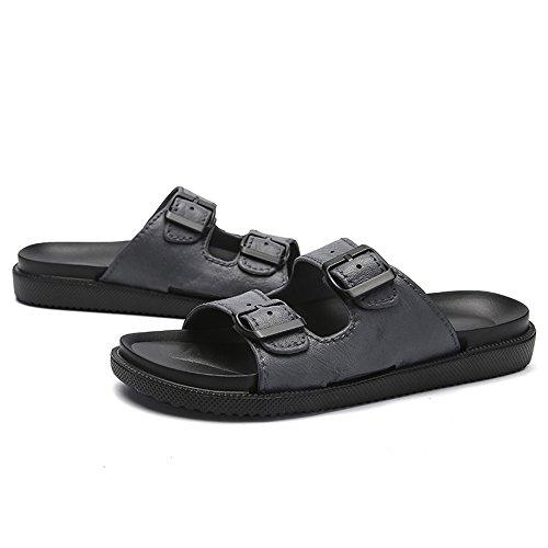 Wangcui 42 tamaño Los Negro EU Casuales Negro Zapatos Color De De De Hombres Flops Flip Cuero rBOr7qR